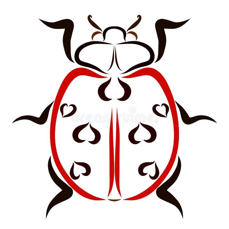Czerwona biedronka z wzorem w postaci serc ilustracji