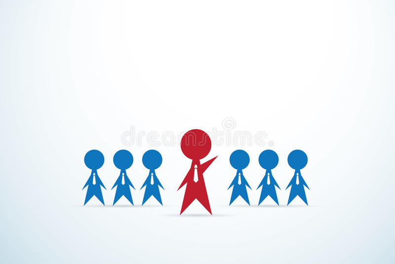 Czerwona biznesmena prowadzenia drużyna, przywódctwo i biznesowy pojęcie, ilustracji