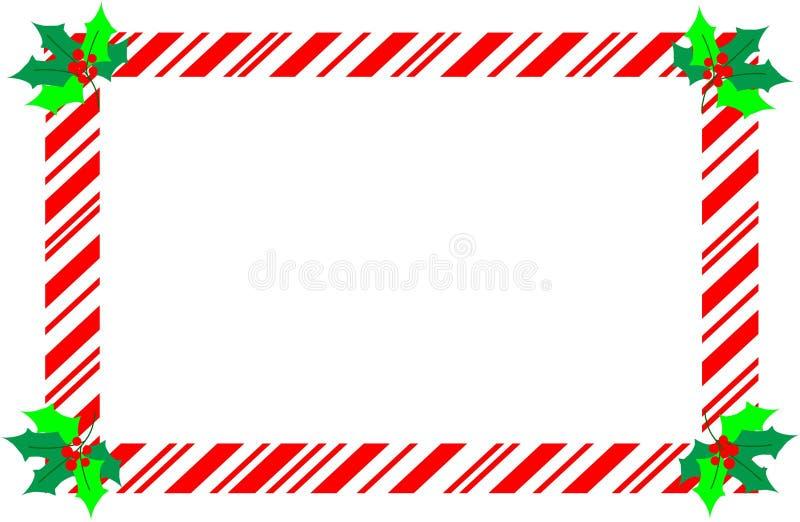 Czerwona boże narodzenie cukierku trzciny granica z holly zdjęcia royalty free