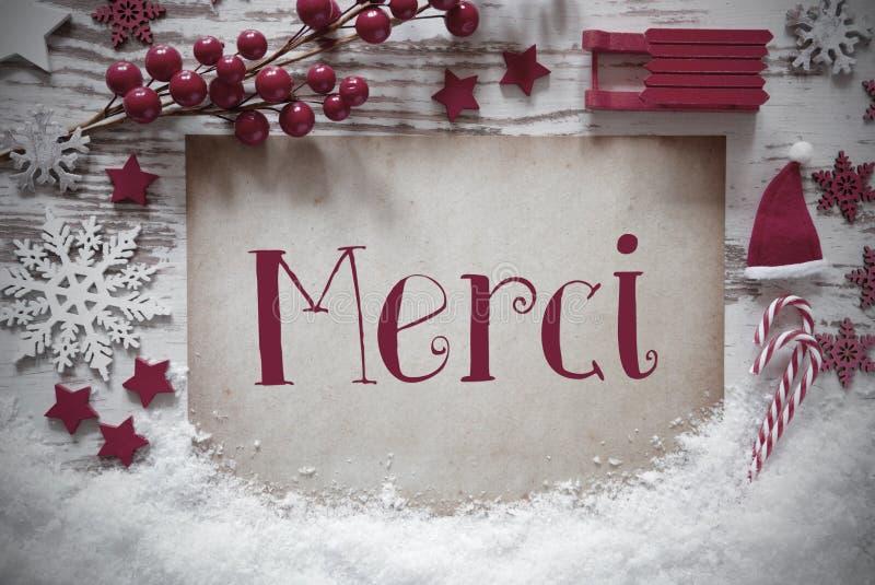 Czerwona Bożenarodzeniowa dekoracja, śnieg, Merci sposoby Dziękuje Ciebie zdjęcia stock