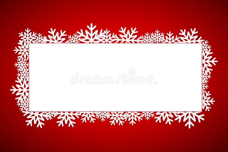 Czerwona Bożenarodzeniowa prezent karta, Wesoło bożych narodzeń płatek śniegu tło z przestrzenią dla twój życzeń, nowożytny wakac royalty ilustracja