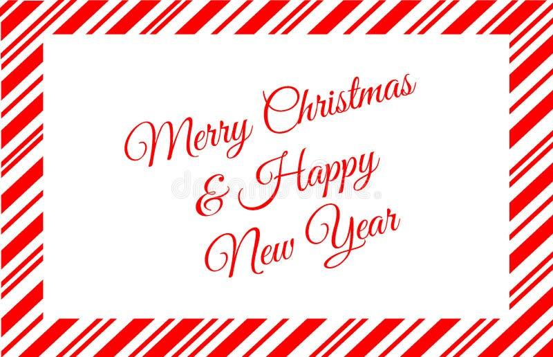 Czerwona cukierek trzciny granica Z Wesoło bożymi narodzeniami i Szczęśliwą nowy rok wiadomością fotografia stock