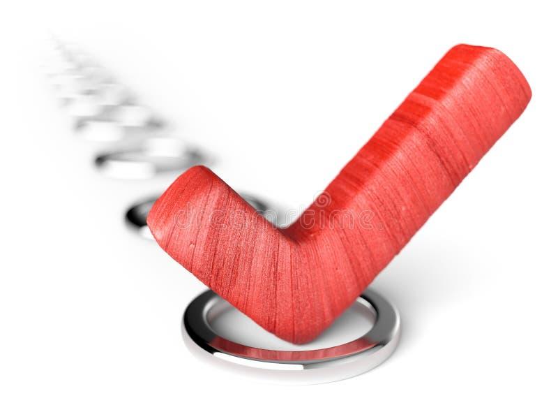 Czerwona czek ocena w czeka okręgu ilustracji