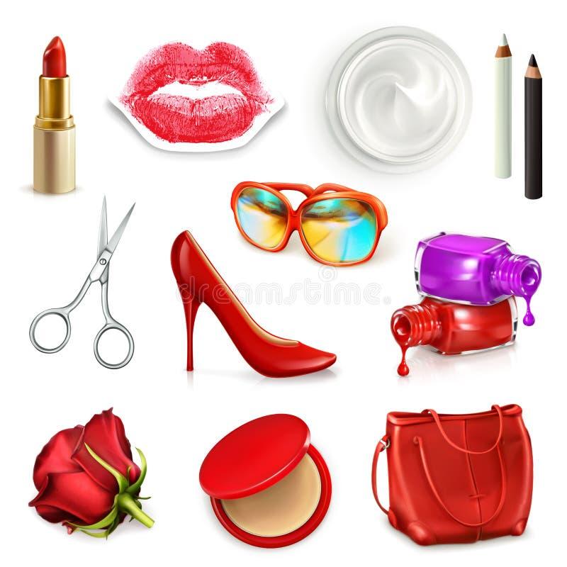 Czerwona damy torebka z kosmetykami i akcesoriami ilustracja wektor