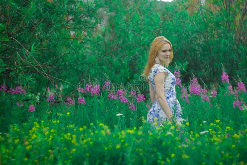 Czerwona dziewczyny pozycja na kwiat łące zdjęcia royalty free