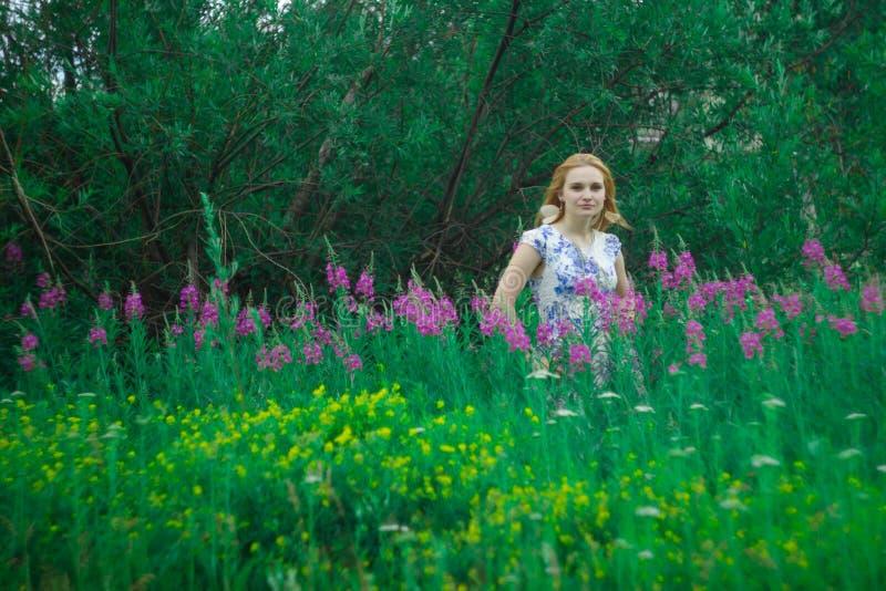 Czerwona dziewczyny pozycja na kwiat łące obrazy stock