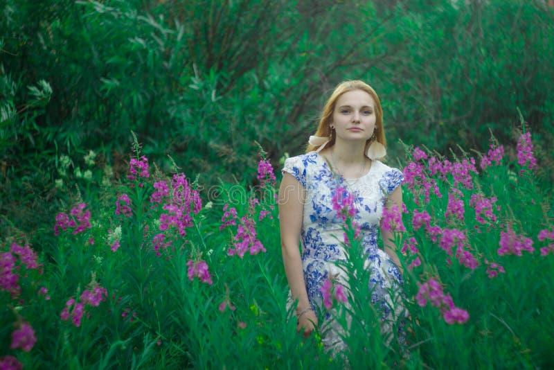 Czerwona dziewczyny pozycja na kwiat łące Wysoka purpura kwitnie herbaty obraz stock