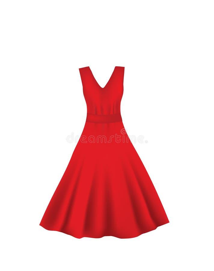 Czerwona elegancka suknia royalty ilustracja