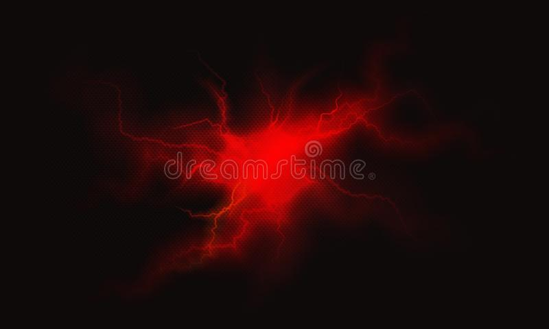 Czerwona elektryczna błyskawica płonący osocza tło ilustracja wektor