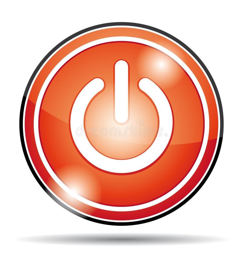 Czerwona elektrycznej władzy daleko guzika ikona ilustracji