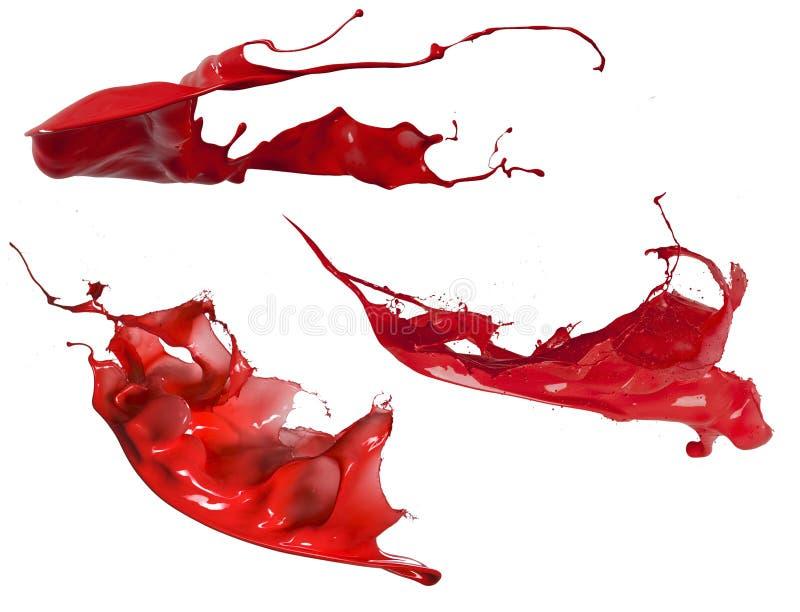 Czerwona farby pluśnięcia kolekcja zdjęcia royalty free