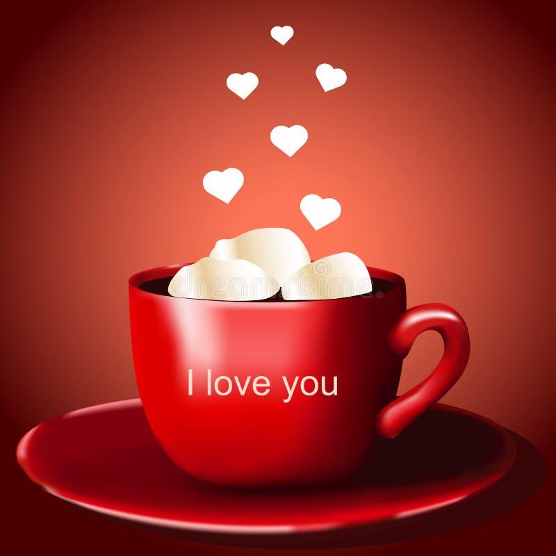 Czerwona filiżanka z cacao i marshmallow royalty ilustracja