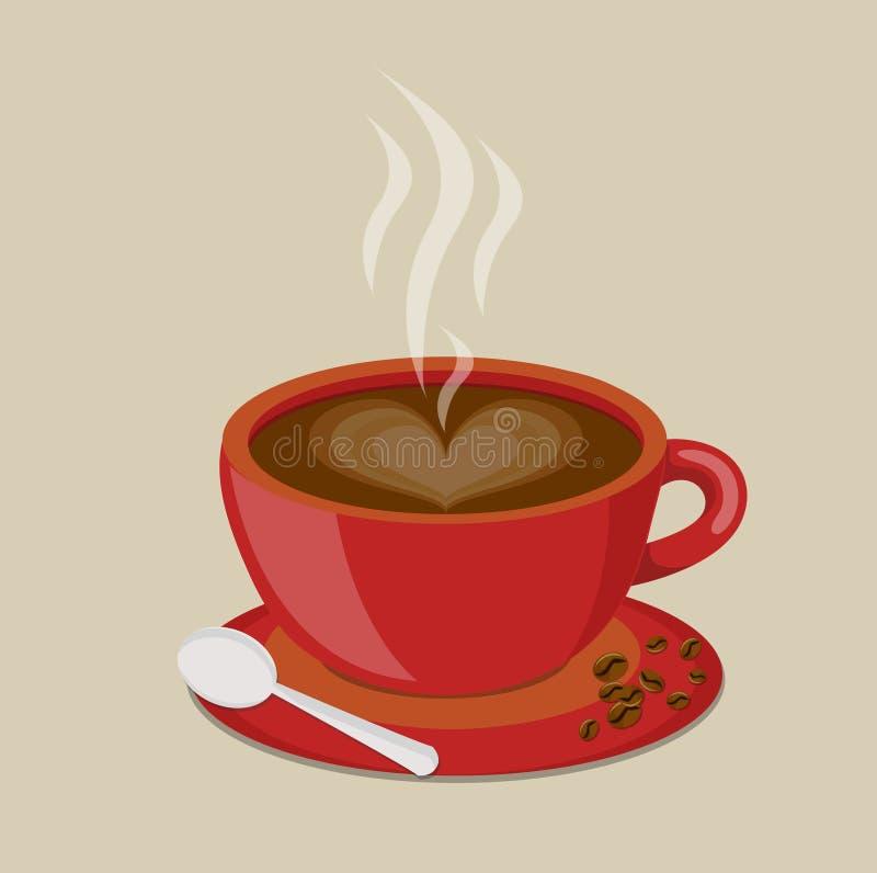 Czerwona filiżanki kawa, fasola i royalty ilustracja