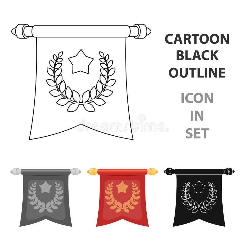 Czerwona flaga na złocistym słupie z emblematem pierwszy olimpiady Nagrody i trofea przerzedżą ikonę w kreskówka stylu wektorze royalty ilustracja