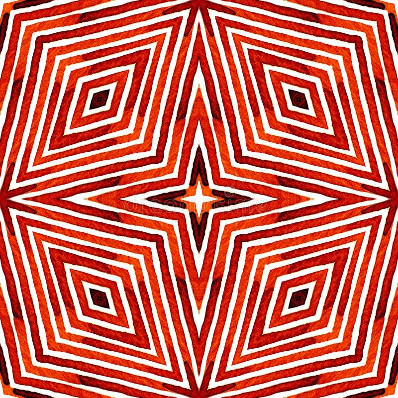 Czerwona Geometryczna akwarela bezszwowy słodkie wzoru Ręka rysujący lampasy Szczotkarska tekstura Niestarty Chevr obrazy royalty free