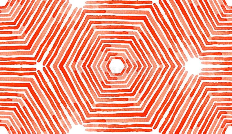 Czerwona Geometryczna akwarela Boski Bezszwowy wzór ilustracja wektor