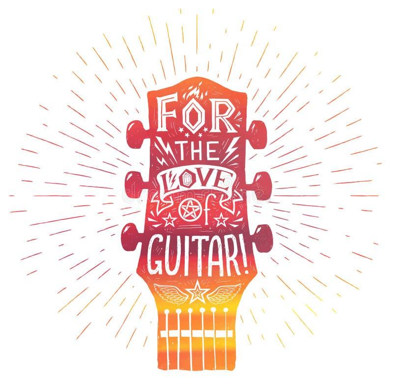 Czerwona gitary akustycznej szyi sylwetka w akwareli grunge stylu z białym literowania inside: Dla miłości gitara ilustracja wektor