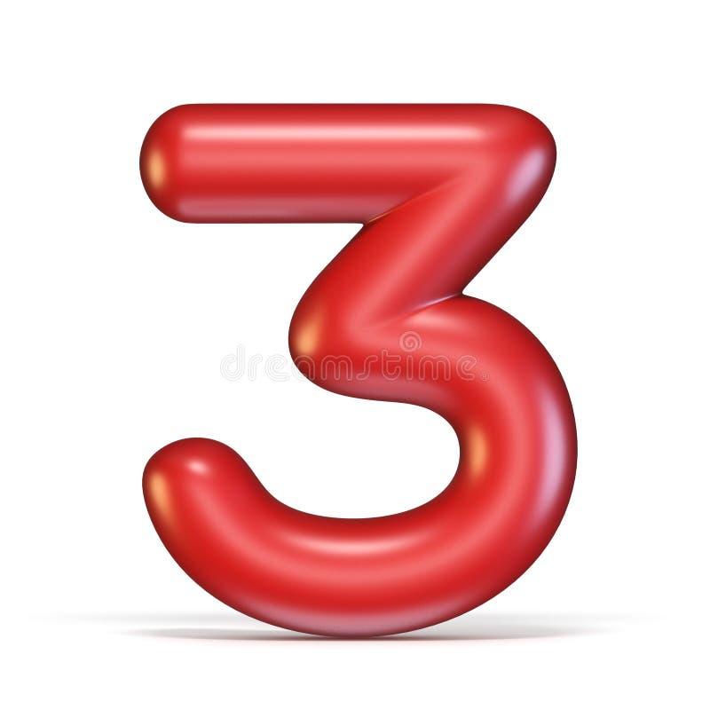 Czerwona glansowana chrzcielnica liczba 3 TRZY 3D ilustracji