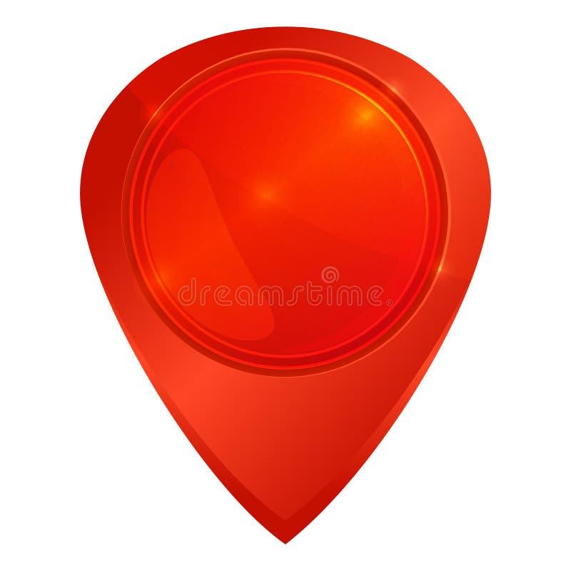 Czerwona glansowana wektorowa pusta etykietka na mapie ilustracja wektor