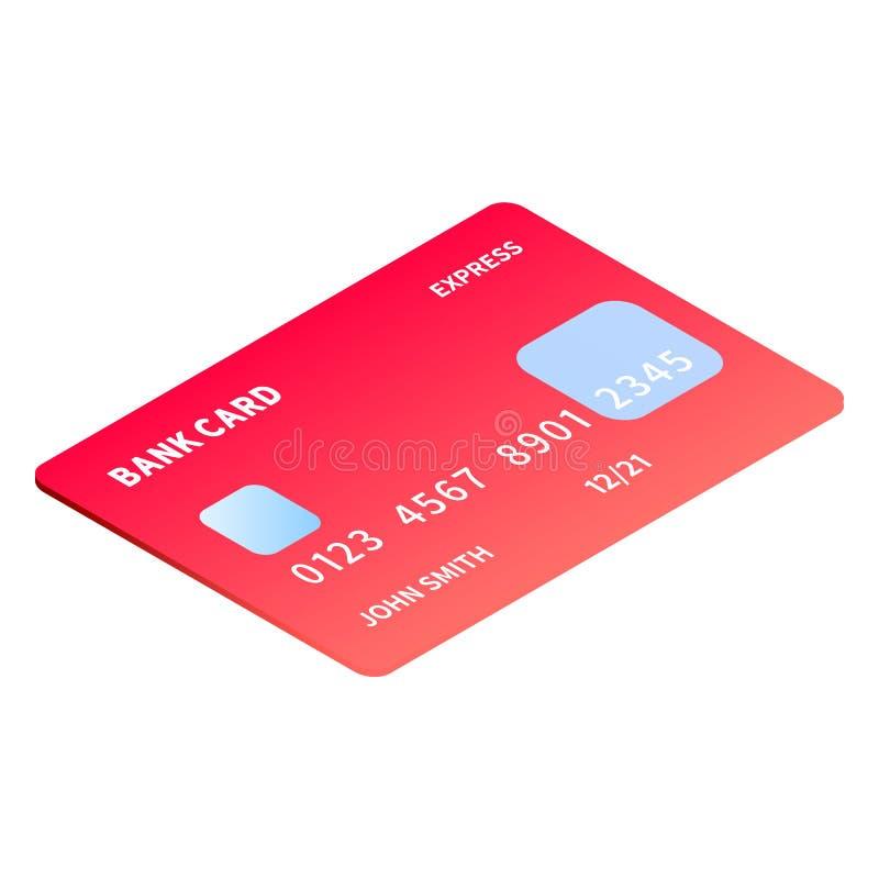Czerwona gradientowa kredytowej karty ikona, isometric styl ilustracji