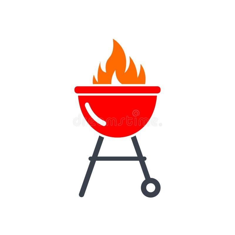 Czerwona grilla grilla ikona royalty ilustracja