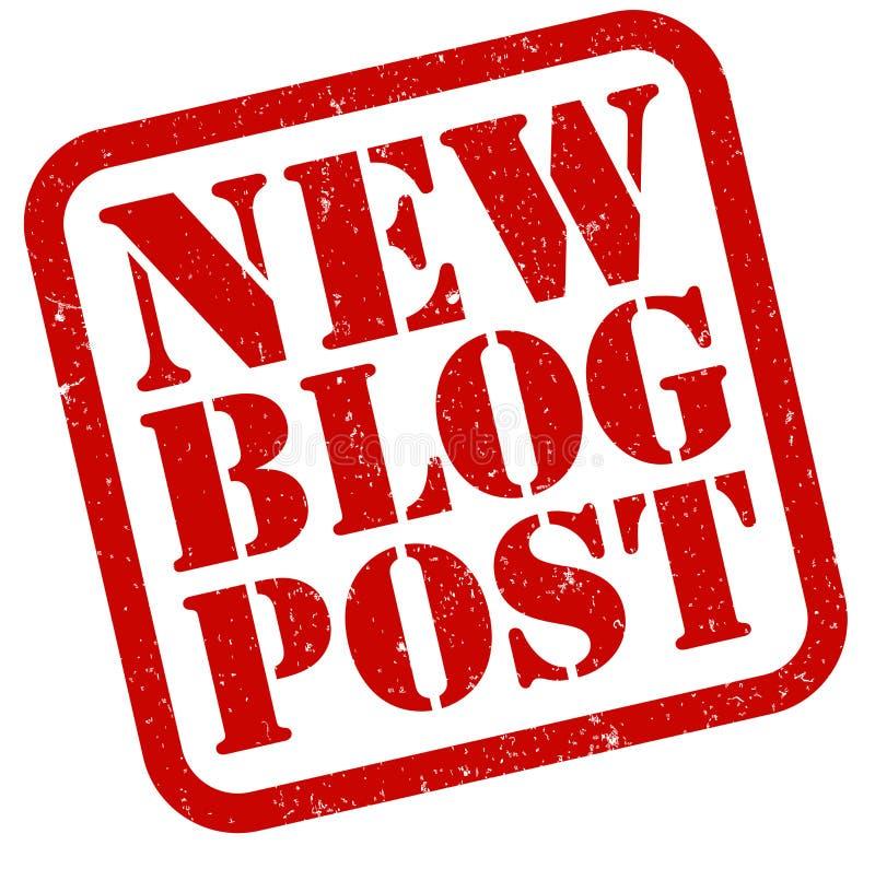 Czerwona grungy pieczątka z słów NOWYMI bloga pocztą royalty ilustracja