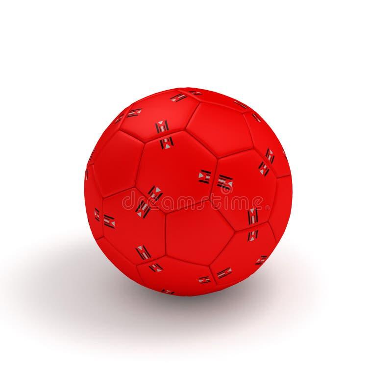 Czerwona handball piłka odizolowywająca na białej 3D ilustracji ilustracji