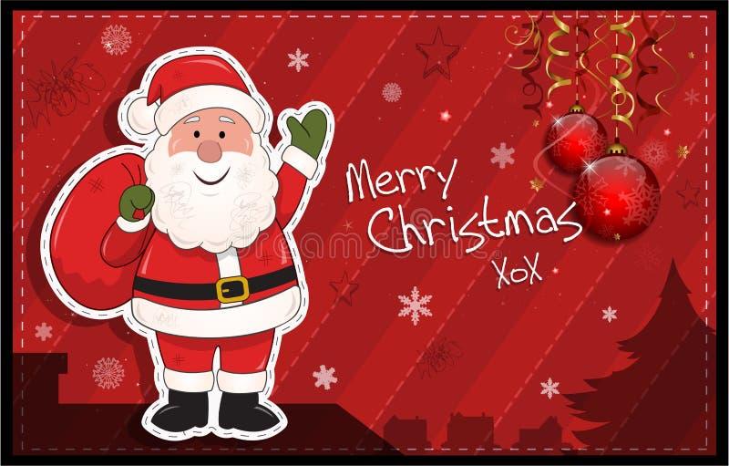 Czerwona horyzontalna kartka bożonarodzeniowa z Święty Mikołaj ilustracja wektor