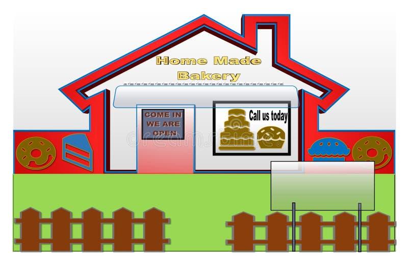Czerwona i błękitna ilustracja domowej roboty piekarnia ilustracji