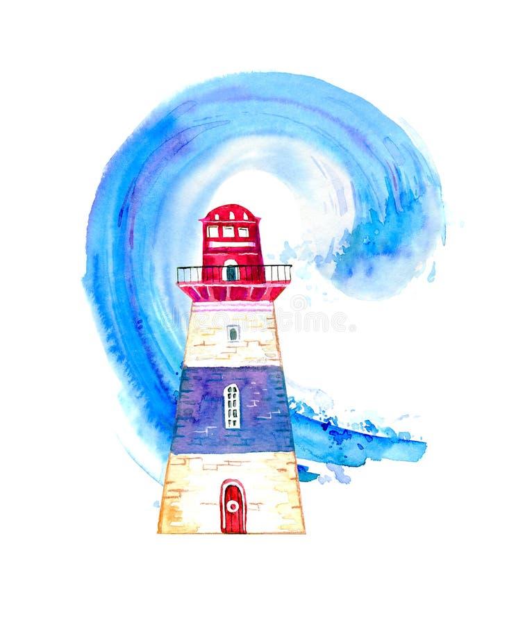 Czerwona i błękitna kreskówki latarnia morska z ocean falą na tle Ręka rysująca akwareli ilustracja royalty ilustracja