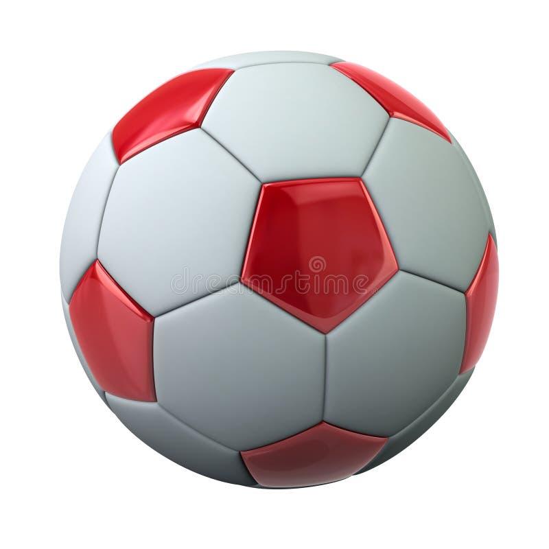 Czerwona i biała piłki nożnej piłki 3d ilustracja royalty ilustracja