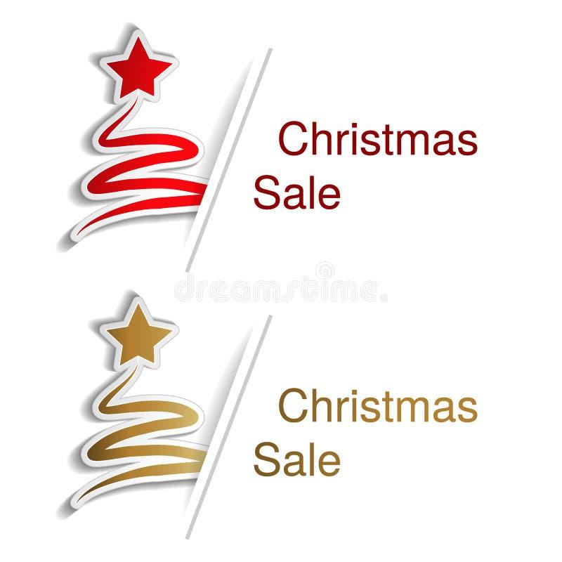 Czerwona i złota choinka z etykietką dla reklamowego teksta na białym tle, majchery z cieniem royalty ilustracja