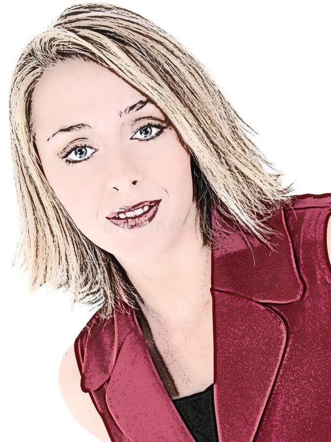 czerwona ilustracyjna biznesu, bez rękawów garnitur kobieta ilustracja wektor