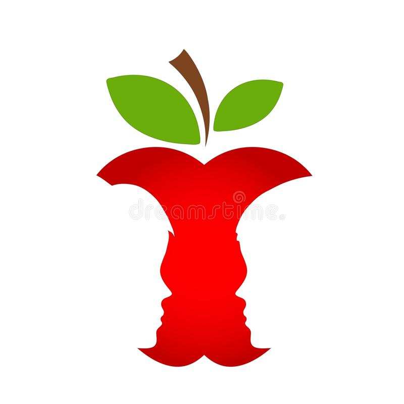 Czerwona jabłczana owoc z mężczyzna i kobiety sylwetką, miłości pojęcie, sto royalty ilustracja
