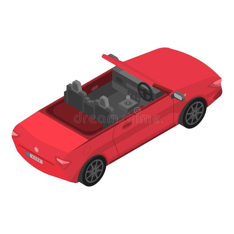 Czerwona kabriolet ikona, isometric styl ilustracja wektor