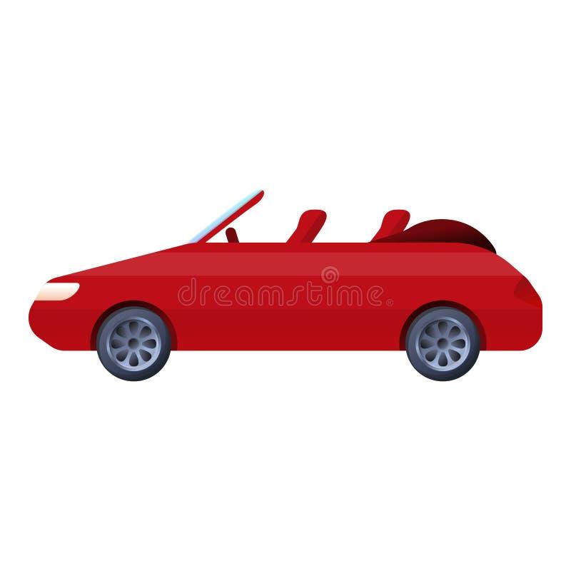 Czerwona kabriolet ikona, kreskówka styl royalty ilustracja