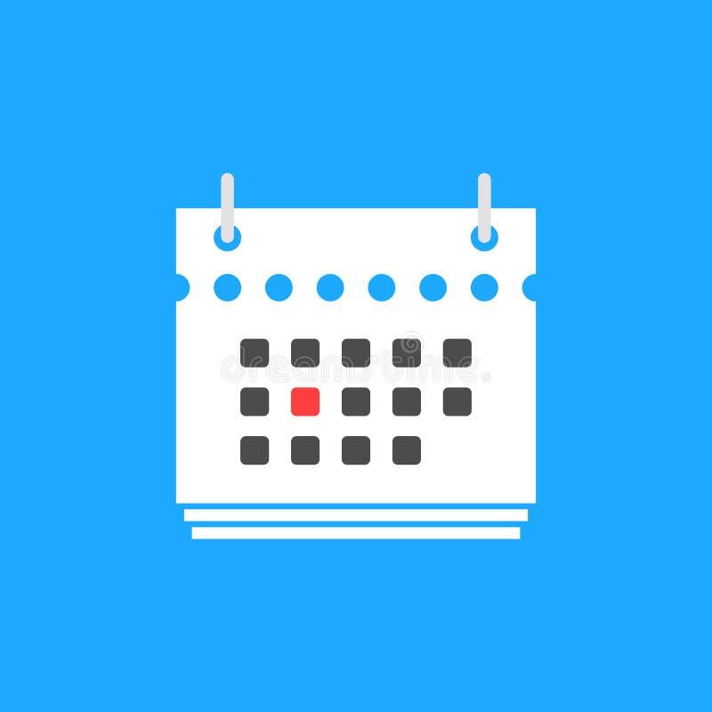 Czerwona kalendarzowej daty mieszkania ikona ilustracji