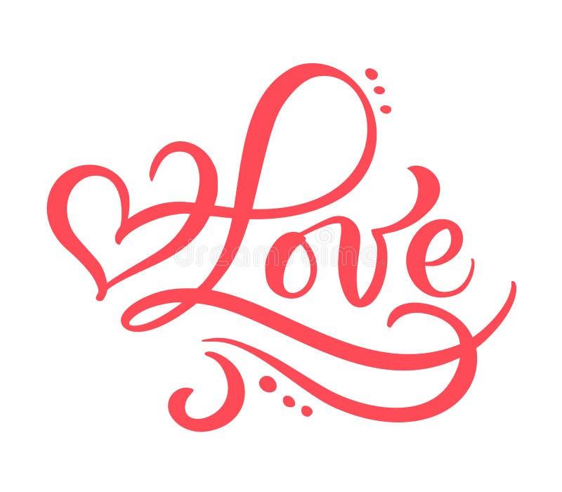 Czerwona kaligrafii słowa miłość Wektorowa ręka Rysujący walentynka dnia literowanie Kierowa Wakacyjna projekta valentine karta m royalty ilustracja