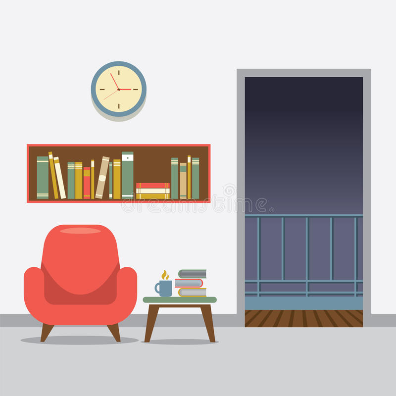Czerwona kanapa Z Bookcase ilustracja wektor