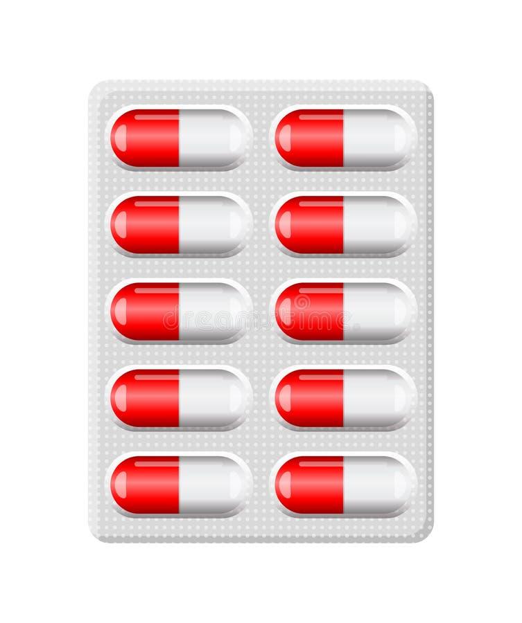 Czerwona kapsuły pigułki bąbla paczka odizolowywająca na białym tle ilustracja wektor