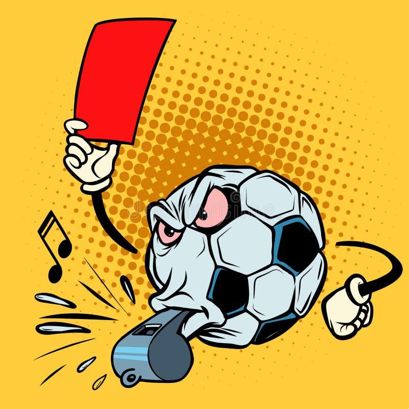 Czerwona kartka arbitra gwizd Futbolowa piłki nożnej piłka Śmieszny charakter ilustracja wektor
