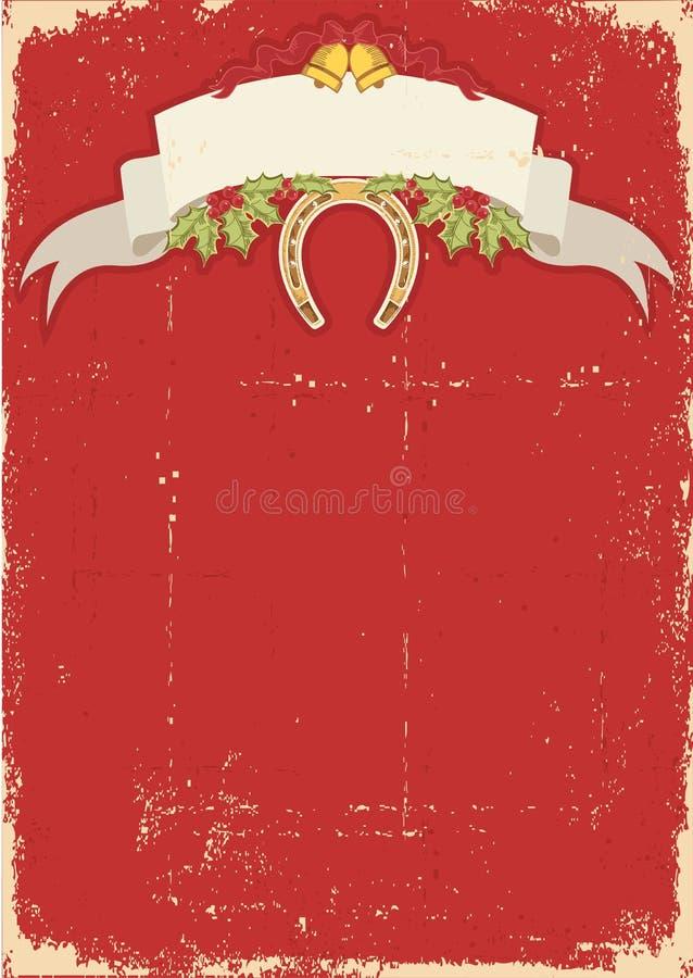 Czerwona kartka bożonarodzeniowa z podkową na starym ilustracji