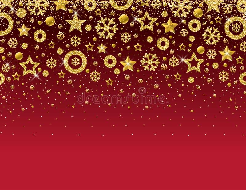 Czerwona kartka bożonarodzeniowa z ramą złoci błyskotliwi płatek śniegu a ilustracji