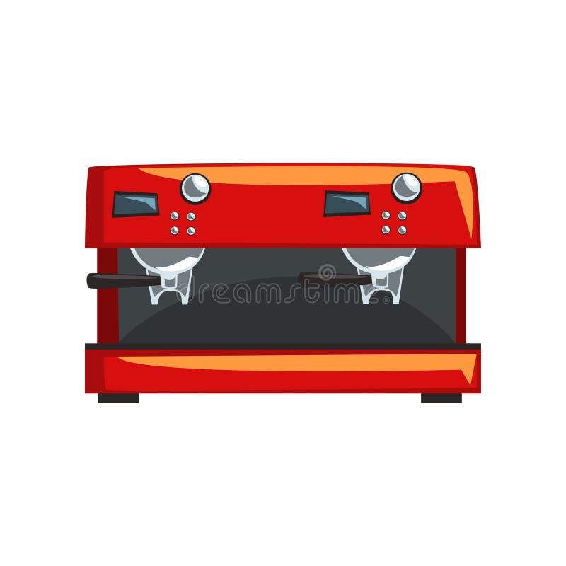 Czerwona kawowa maszyna, kawa espresso kawowego producenta kreskówki wektorowa ilustracja na białym tle ilustracja wektor