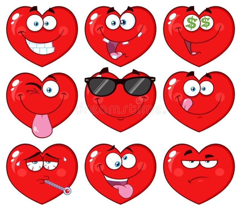 Czerwona Kierowa kreskówka Emoji Stawia czoło charakteru 2 Kolekcja ilustracji
