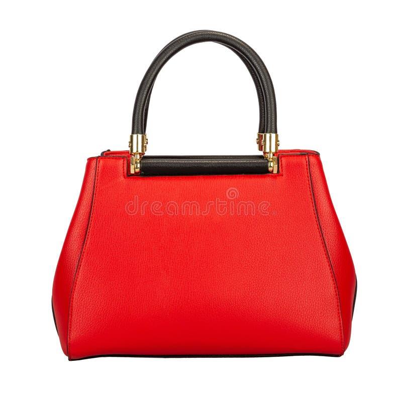 Czerwona klasyczna damy torebka bryła textured skórę zdjęcie royalty free