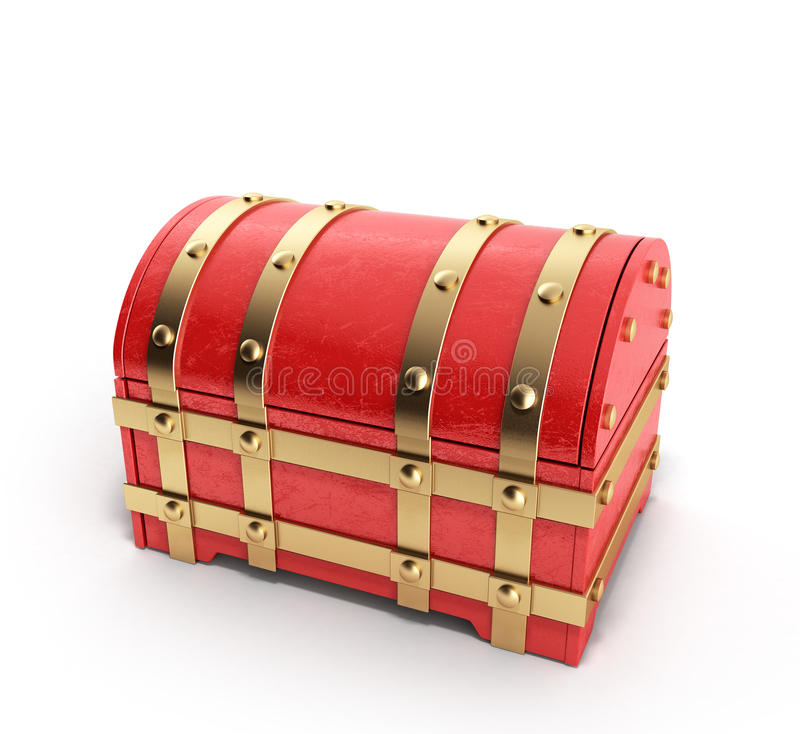 Czerwona klatka piersiowa pusty 3d odpłaca się na białym tle royalty ilustracja