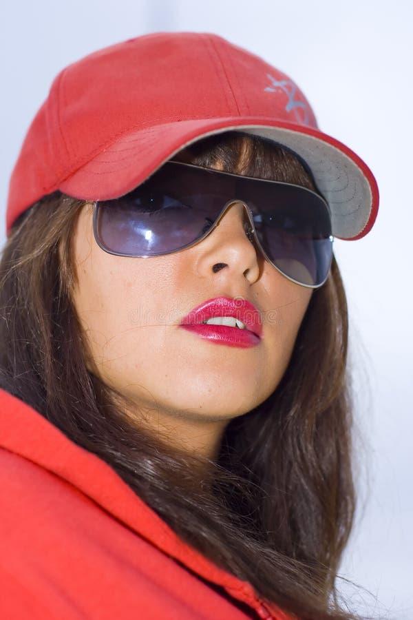 czerwona kobieta obraz stock