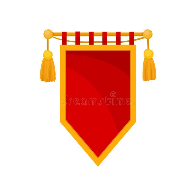 Czerwona królewska flaga, heraldyczny symbol, monarchia atrybutu wektorowa ilustracja na białym tle ilustracji