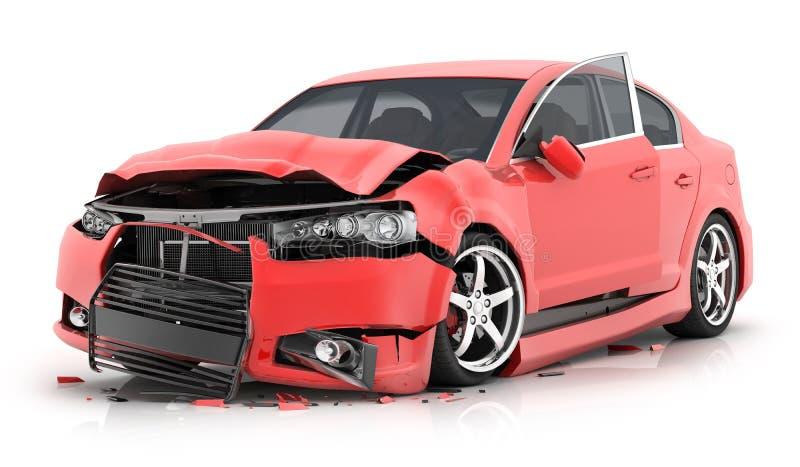 Czerwona kraksa samochodowa na odosobnionym białym tle royalty ilustracja